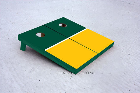 Custom Cornhole Boards Green and Yellow House Divided