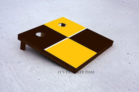 Custom Cornhole Boards Yellow and Black House Divided with 1x4 frames