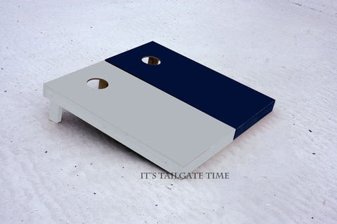 Custom Cornhole Boards Navy and Grey Solid Set with 1x4 frames