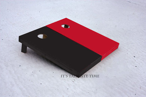 Custom Cornhole Boards Red and Black Solid Set