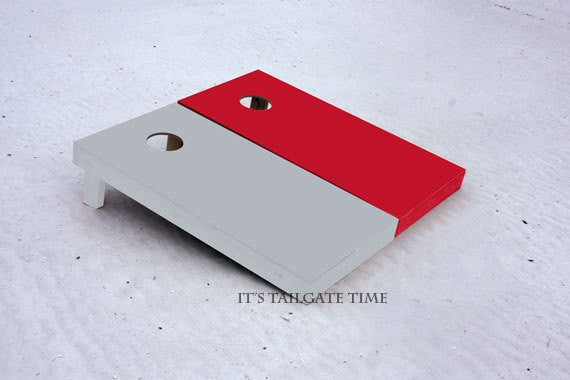 Custom Cornhole Boards Red and Grey Solid Set