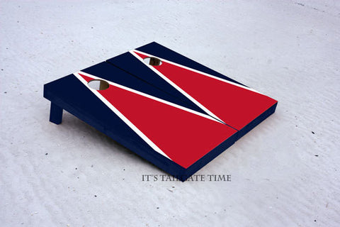 Custom Cornhole Boards Red and Navy Matching Triangle Set