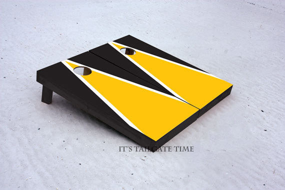 Custom Cornhole Boards Yellow and Black Matching Triangle Set