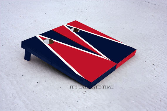 Custom Cornhole Boards Red and Navy Alternating Triangle Set
