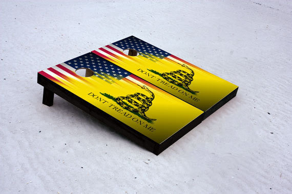 Don't Tread on Me. Custom Cornhole Boards with 1x4 Frames