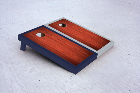Custom cornhole boards with Navy and Gray borders with Rosewood stained center