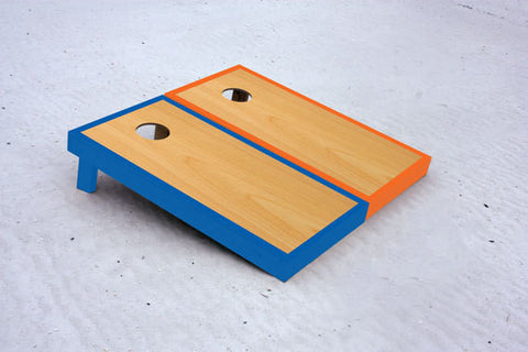 Custom cornhole boards with Blue and Orange borders with natural stained center