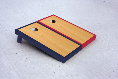 Custom cornhole boards with Navy and Red borders with natural stained center