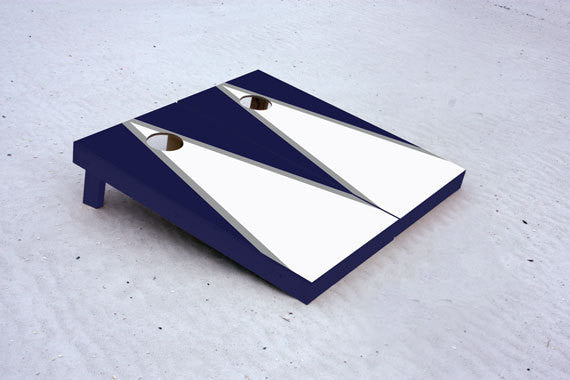 Custom Cornhole Boards White and Navy matching triangle Set with 8 cornhole bags