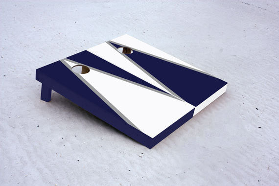 Custom Cornhole Boards Navy and White alternating triangle Set with 8 cornhole bags