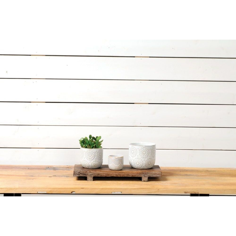 White Embossed Planter (2 Sizes)
