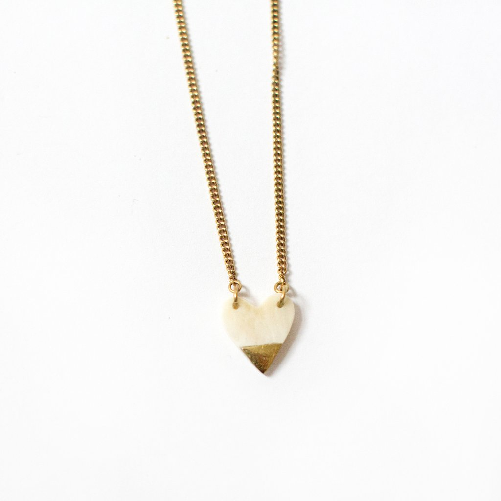 Small White and Brass Heart Necklace