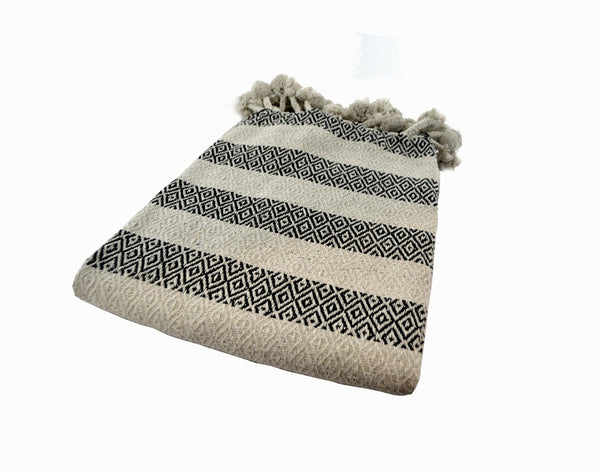 Striped Throw with White Pom-poms