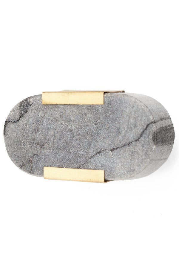 Grey Marble and Brass Knob