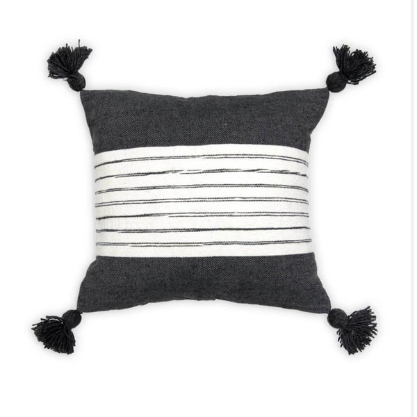 Moroccan Pillow Belted Charcoal