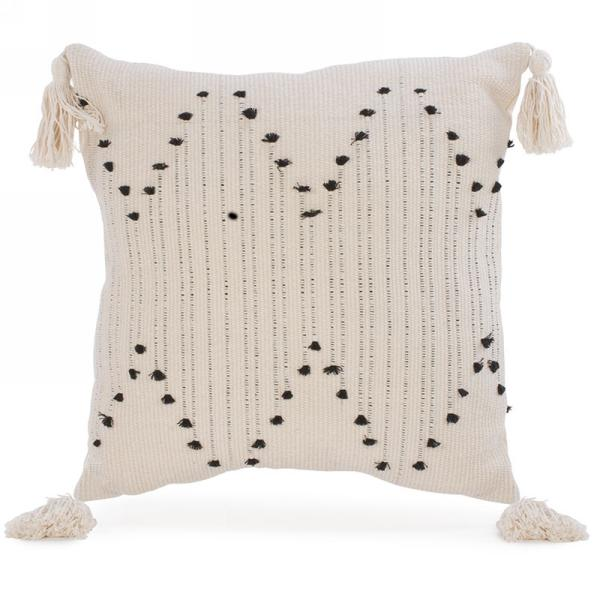 Cream/Black Tassel Pillow