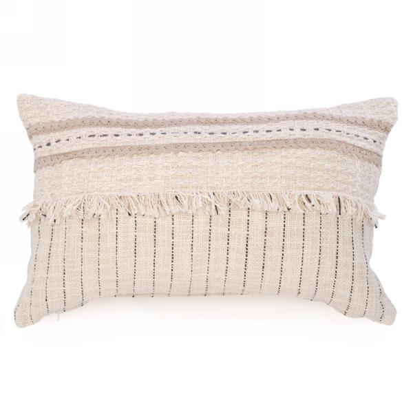 Beige Cushion with Fringe