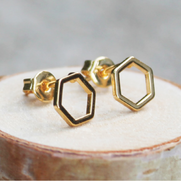 Gold Hexagon Frame Earrings