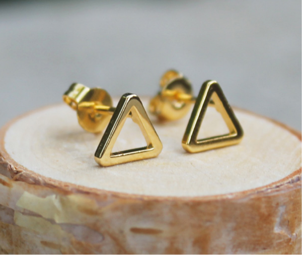 Gold Triangle Frame Earrings