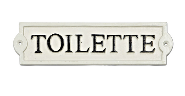 Plaque - Toilette Sign White