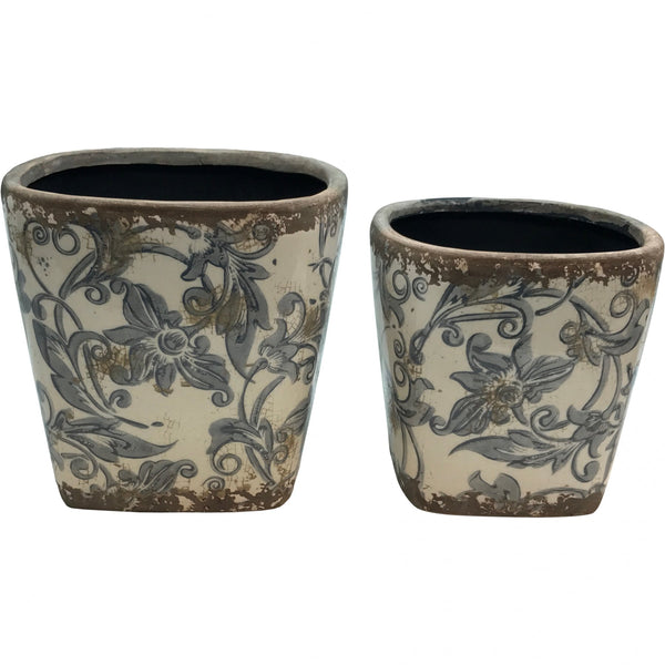 Glazed Ceramic Floral Planter (2 Sizes)