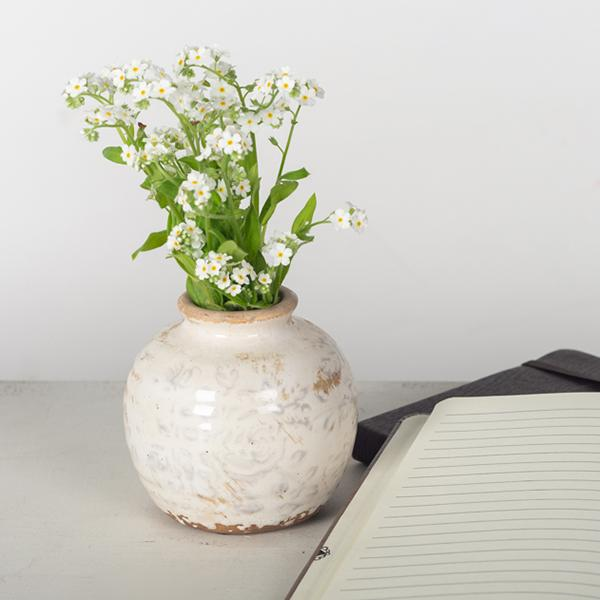 Cream Vase with light floral pattern