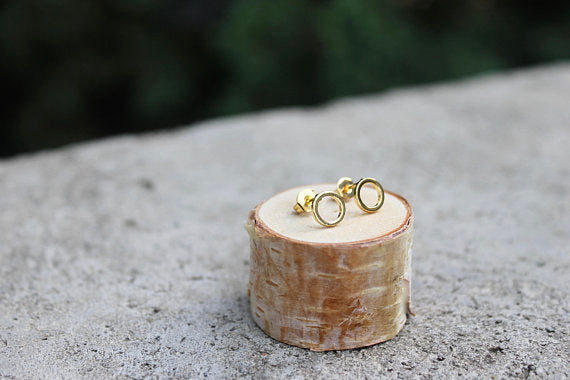 Gold Open Circle Earrings
