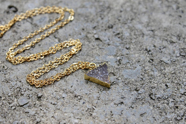 Druzy Stone Circle/Triangle Necklace