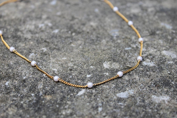 Gold Pearl Layering Necklace