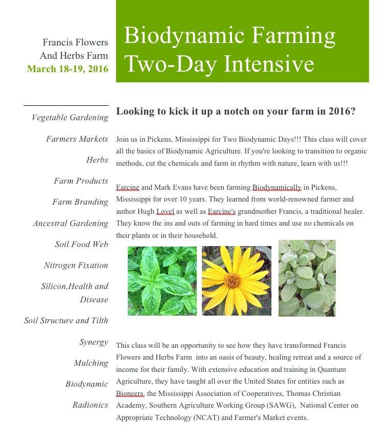 Biodynamic Farming Two-Day Intensive March 18-19, 2016