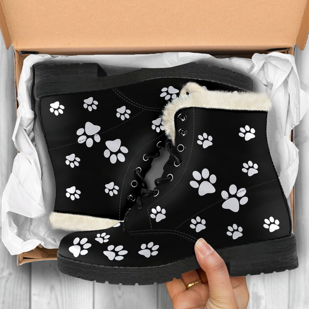 Paw prints faux fur leather boots - Marsa