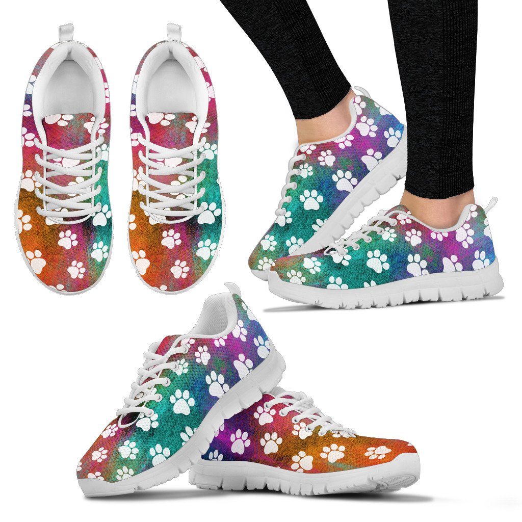 Colorful Paw Prints Sneakers