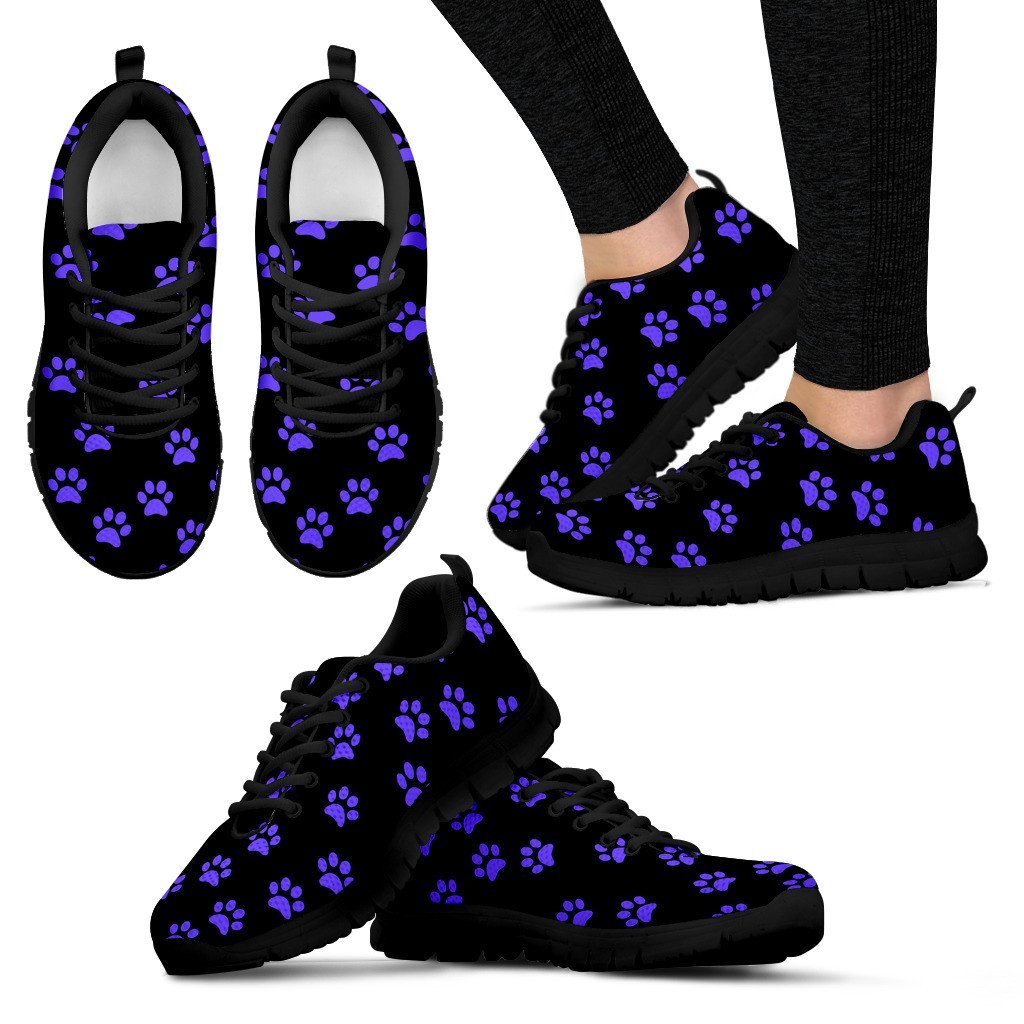 Women's Blue Paw Prints Sneakers - Marsa