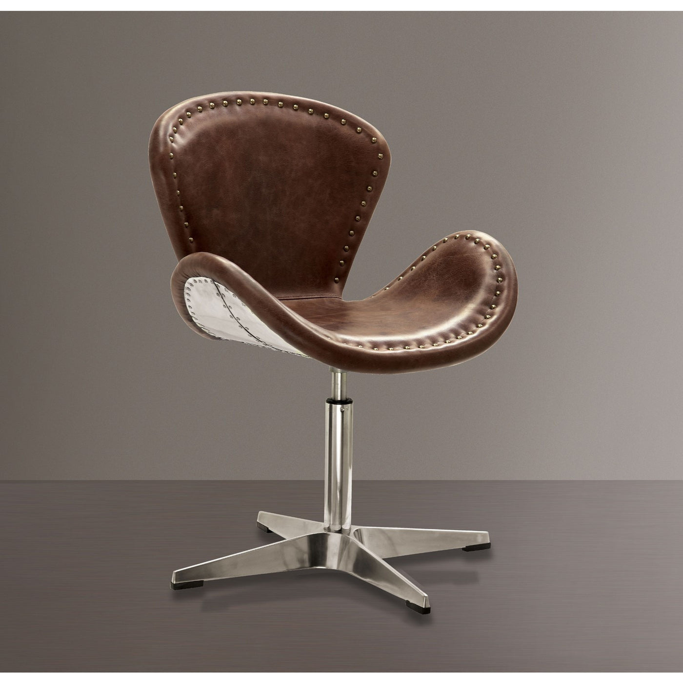acme brancaster retro brown leather aluminum swivel accent chair