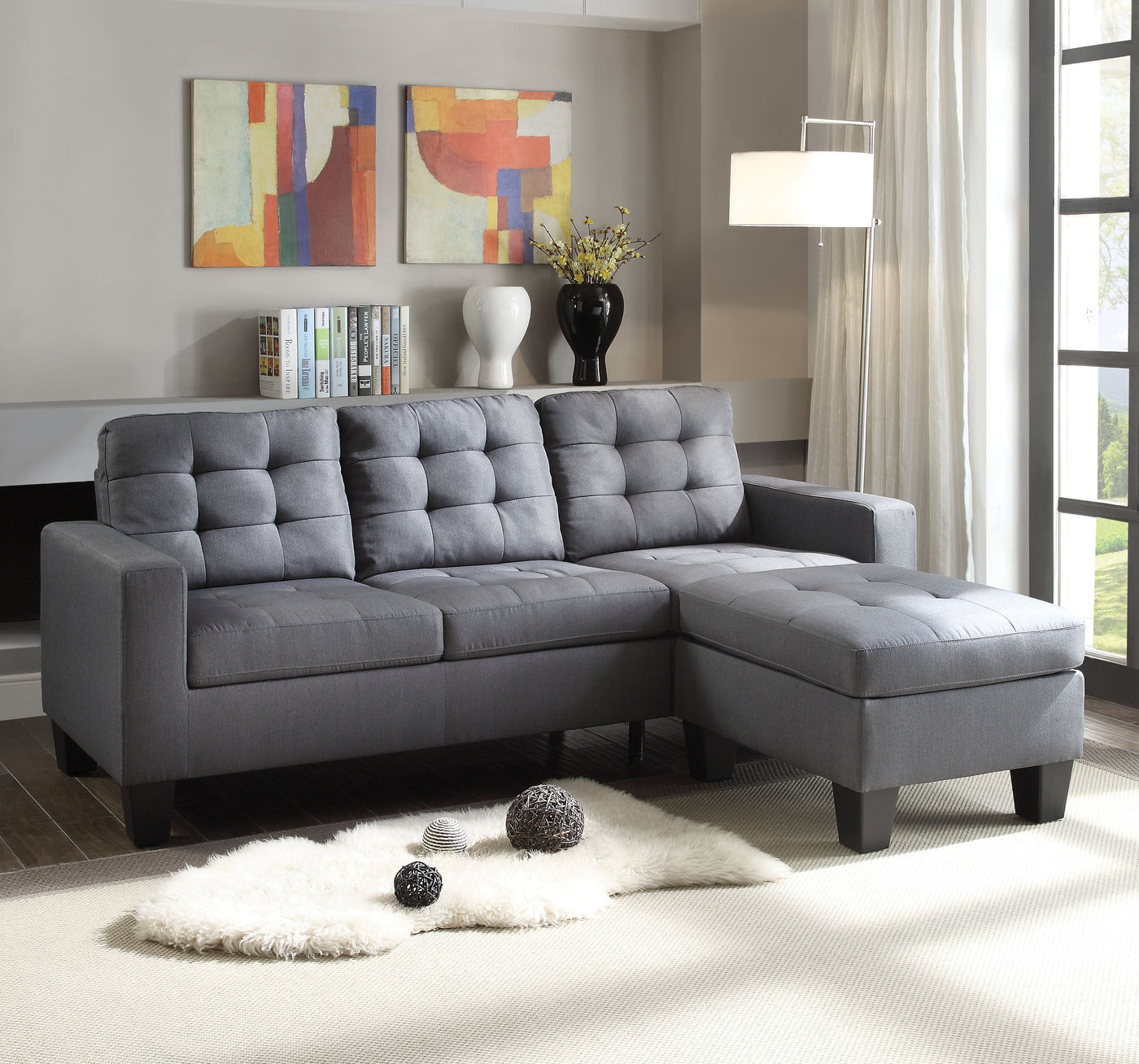ACME 52775 Earsom Sectional Sofa, Gray Linen