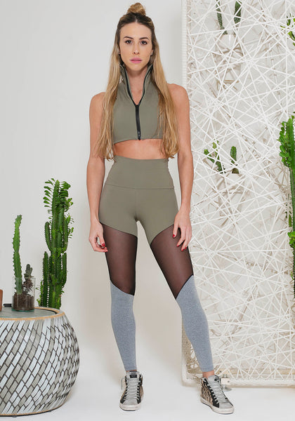 Christi Legging Arbusto Green / Black Mesh / Grey