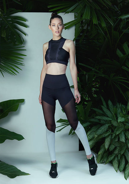 Christi Legging  Black / Black Mesh / Polar Grey