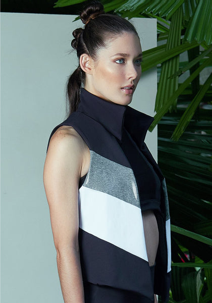 Donna Vest Black / Wet Silver / White