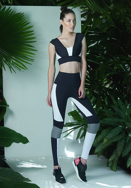 Natalie Legging Black / White / Wet Silver