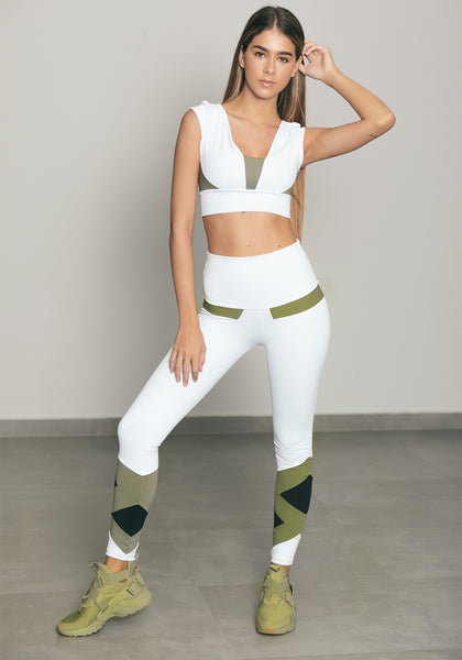 Olivia Legging White / Arbusto Green / Black