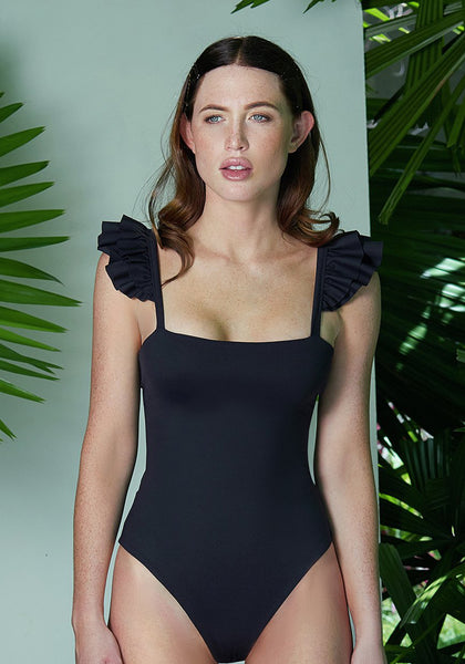 Ruffle Leotard Black