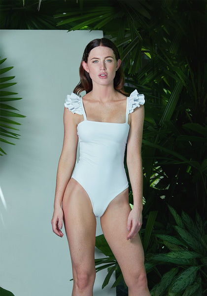 Ruffle Leotard White