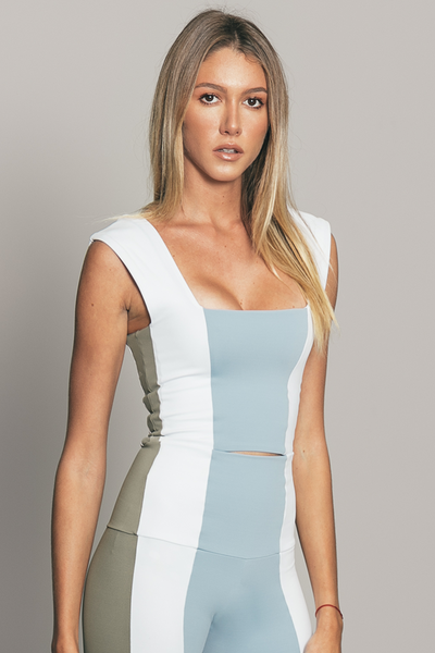 Stripe Top Light Blue / Grey / White