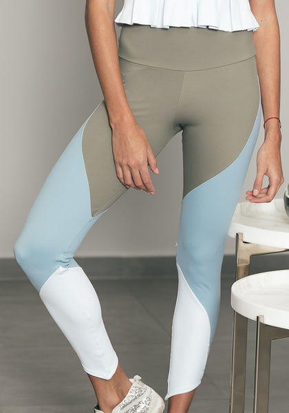 Zoé Legging Grey / Light Blue / White