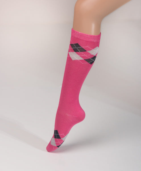8e6b9e17007 Argyle Knee High - Hot Pink Black Grey – J Carlos Footwear