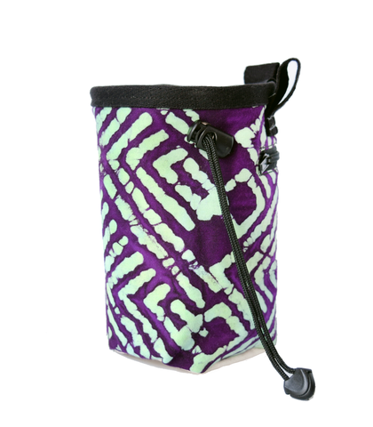 Purple and Green Batik Chalk Bag with Belt