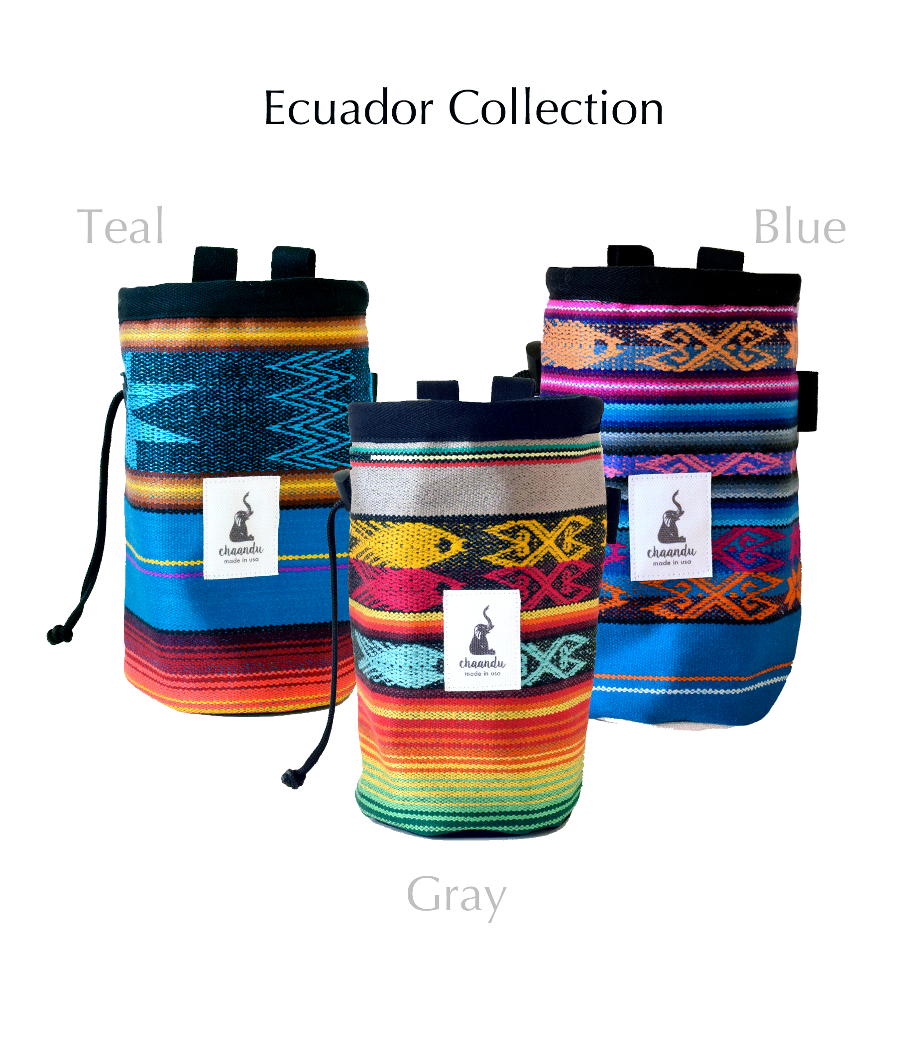 Blue Ecuador Chalk Bag with Belt