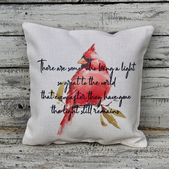 red cardinal memorial pillow