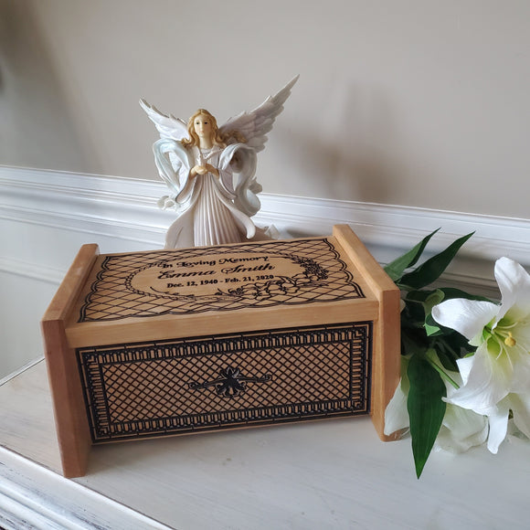 wooden box urn for human ashes
