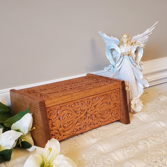 Personalized Wood Urn Carved Box Made Of Solid Cherry For Human Remains